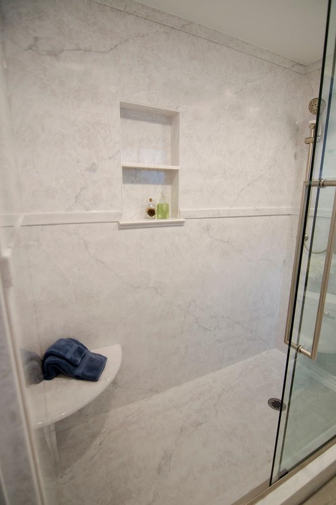 Carrara series Empress Silver cultured marble shower